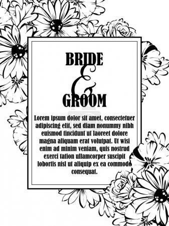 Vintage floral wedding invitation card