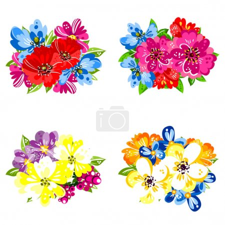 Set of beautiful colorful flowers