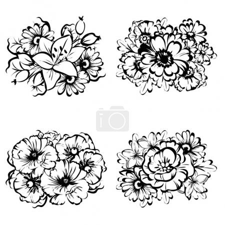 Set of beautiful ornate flowers