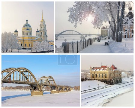 The sights of the city Rybinsk, Russia. Collage. Winter.