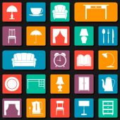 Seamless background with icons of furniture vector