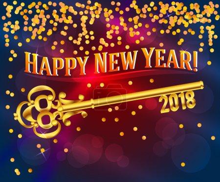 happy new year 2018 card key