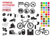 fitness set design elements color style icons fonts