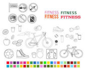 fitness set design elements color style icons fonts_ligth