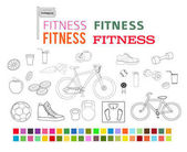 fitness set design elements color style icons fonts2