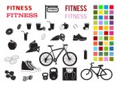 fitness set design elements color style icons fonts3