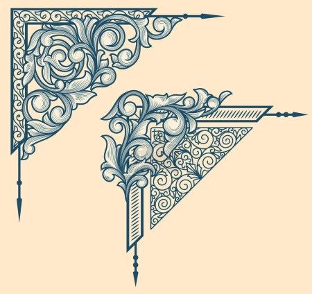 Illustration for Vintage floral design Vintage floral design corners. ornate decorative vector artwork - Royalty Free Image