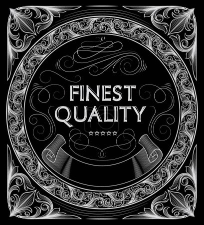 Illustration for Vintage ornate white frame with inscription finest quality on black background, vector, illustration - Royalty Free Image