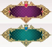 purple and green decorative banners with ornament vector illustration