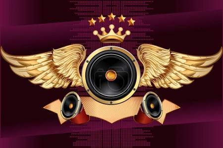Winged audio speaker emblem