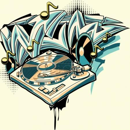 music design turntable graffiti