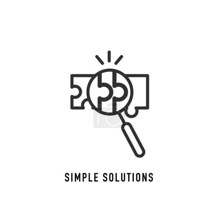 Illustration for Simple solutions concept, compatibility line icon, assemble puzzle pieces, solving problem. Vector illustration - Royalty Free Image