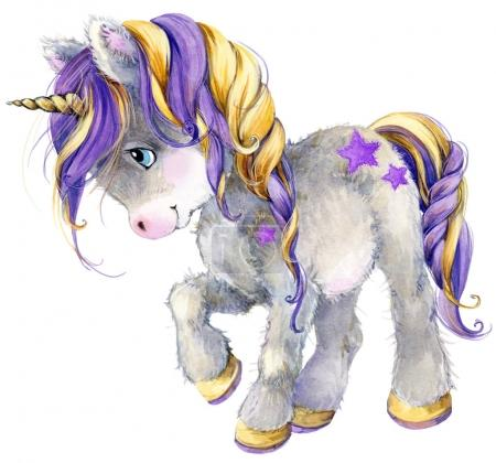 Photo for Cartoon unicorn watercolor illustration - Royalty Free Image