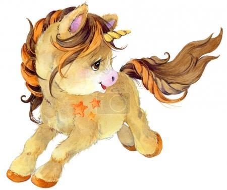 Photo for Cartoon unicorn watercolor illustration - Royalty Free Image