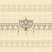 Sketch of endless stripes with lotus flower in henna tattoo styl