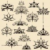 Fifteen freehand drawings of lotus flowers in east style