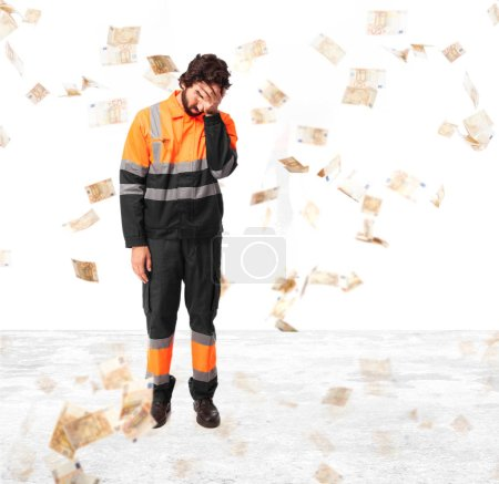Photo for Sad worker man crying - Royalty Free Image