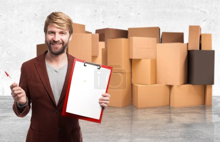 happy businessman with inventory