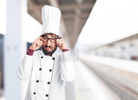 sad cook man crying