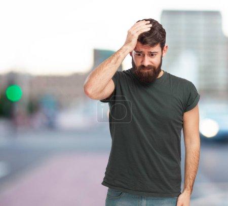 sad young man crying