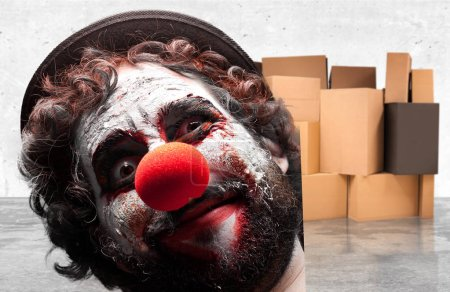 Photo for Crazy clown man with angry expression - Royalty Free Image