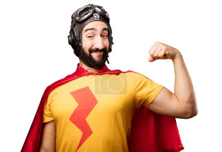 Crazy super hero in strong pose