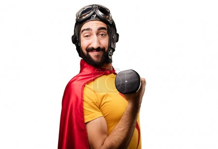crazy super hero with a dumbbell