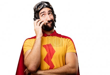 Crazy super hero with mobile phone