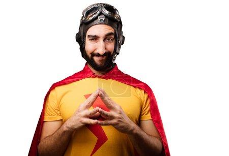 Crazy super hero planning something