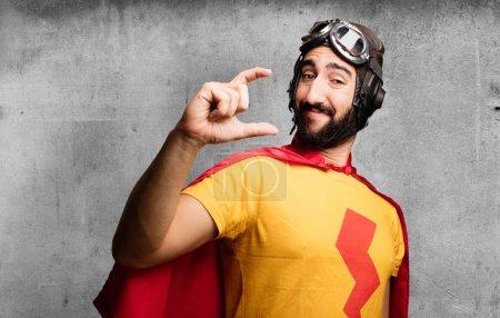 Crazy super hero showing gesture
