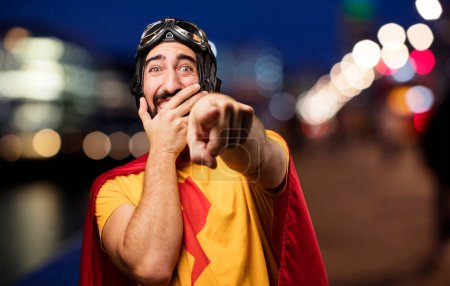 Crazy super hero joking