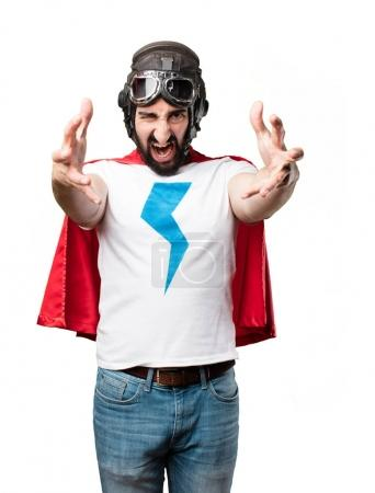 young super hero in disagree pose