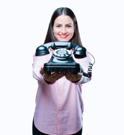 young cool girl with vintage phone