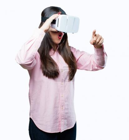 young cool girl with virtual glasses