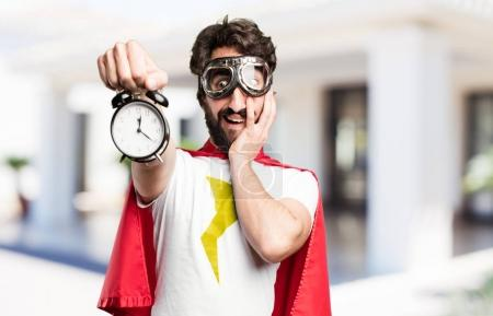 young super hero with a clock