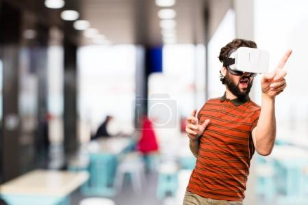 young cool man with virtual glasses