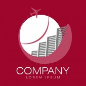 Vector abstract logo Hotels and airliner Tourism and travel Company identity Icon isolated on white background Graphic design editable for your design