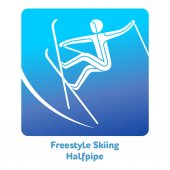 Freestyle Skiing Halfpipe icon Olympic species of events in 2018 Winter sports games icons vector pictograms for web print and other projects Vector illustration isolated on a white background