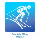 Freestyle Skiing Moguls icon Olympic species of events in 2018 Winter sports games icons vector pictograms for web print and other projects Vector illustration isolated on a white background