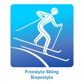 Freestyle Skiing Slopestyle icon Olympic species of events in 2018 Winter sports games icons vector pictograms for web print and other projects Vector illustration isolated on a white background