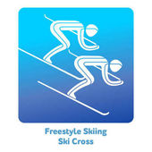 Freestyle Skiing Ski Cross icon Olympic species of events in 2018 Winter sports games icons vector pictograms for web print and other projects Vector illustration isolated on a white background