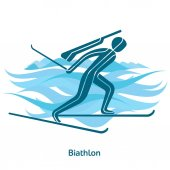 Biathlon icon Olympic species of events in 2018 Winter sports games icons vector pictograms for web print and other projects Vector illustration isolated on a white background