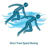 Short Track Speed Skating icon Olympic species of events in 2018 Winter sports games icons vector pictograms for web print and other projects Vector illustration isolated on a white background