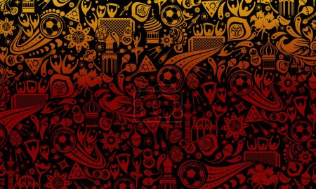 Illustration for Vector illustration russian black background. Official background of the FIFA World Cup in Russia 2018. World of Russia pattern with modern and traditional elements, 2018 trend background. - Royalty Free Image