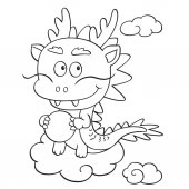 Cute cartoon dragon on white background for childrens prints t-shirt color book funny and friendly character for kids