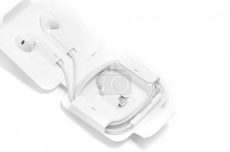 In-ear headphones white in special case with lightning Apple ada