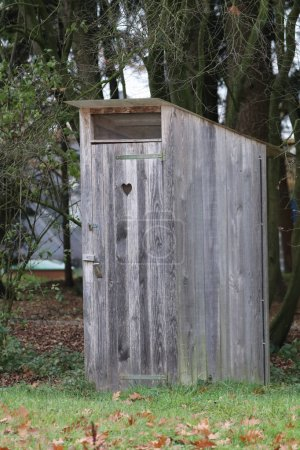 Wooden toilet outside