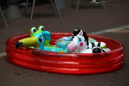 inflatable swimming pool with toys