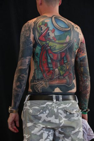 AMSTERDAM, THE NETHERLANDS - MAY 27, 2017: Participant of the International Tattoo Convention Amsterdam 2017 in the RAI congress center.