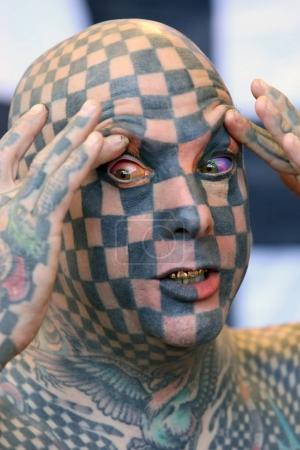 AMSTERDAM, THE NETHERLANDS - MAY 27, 2017: Matt Gone world's most tattooed man at the International Tattoo Convention Amsterdam 2017 in the RAI congress center.